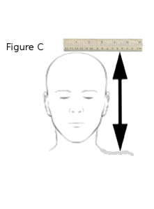 "Figure C - ""Measure top of head to shoulder"""